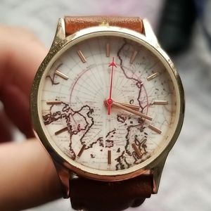 Jewelry - GLOBAL MAP LEATHER BAND WATCH FOR MEN AND WOMEN
